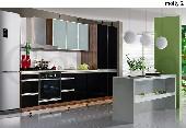 Meble kuchenne, kuchnia MOLLY #2 oliwka / czarny połysk