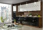Meble kuchenne, kuchnia MOLLY #6 oliwka / biały połysk / czarny połysk