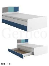 FOX meble _16 łóżko bez materaca biały / niebieski
