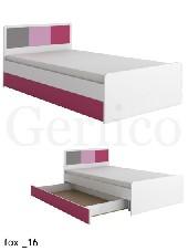 FOX meble _16 łóżko bez materaca biały / róż / fuksja